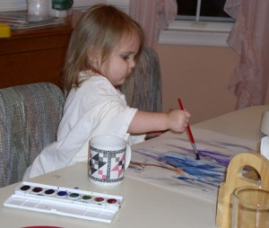 Homeschooling (toddler watercolor painting) -- Everyday Homemaking