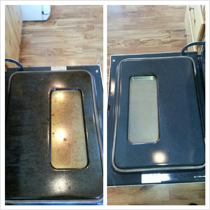 Before and after oven cleaner and spirisponge