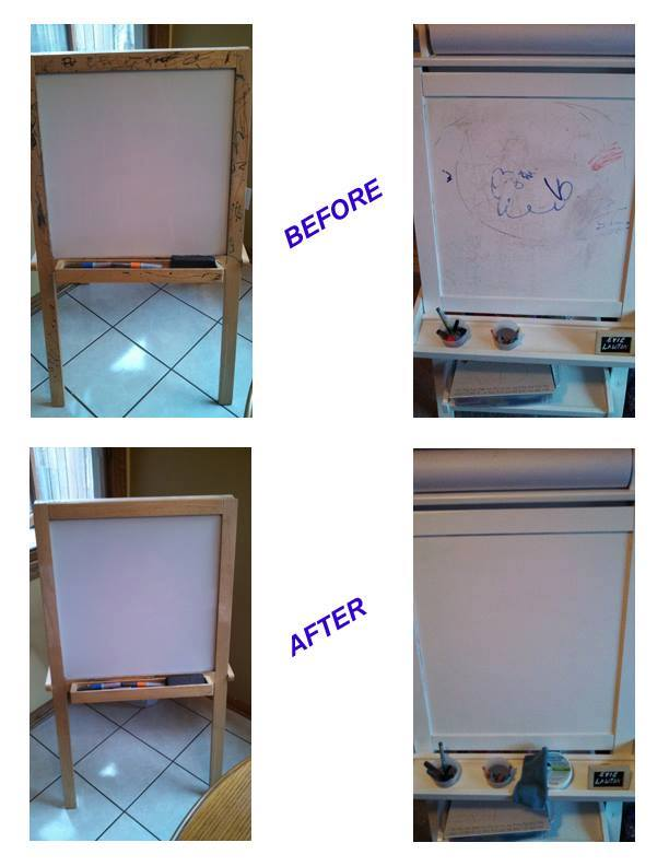before and after easels Enviro and CP (rt – non-dry-erase)