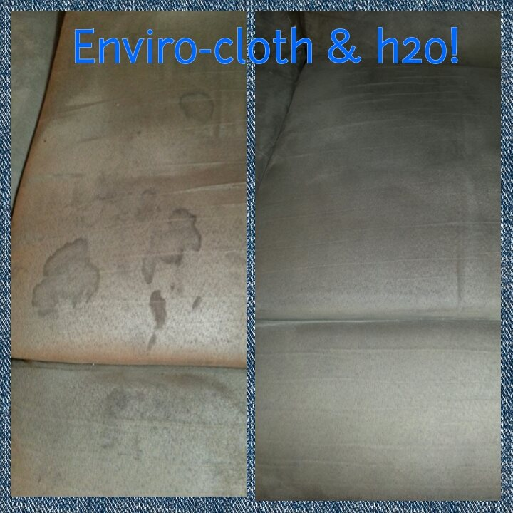 before and after microfiber sofa w enviro and water