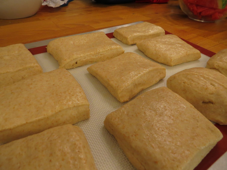 sandwich rolls, rising