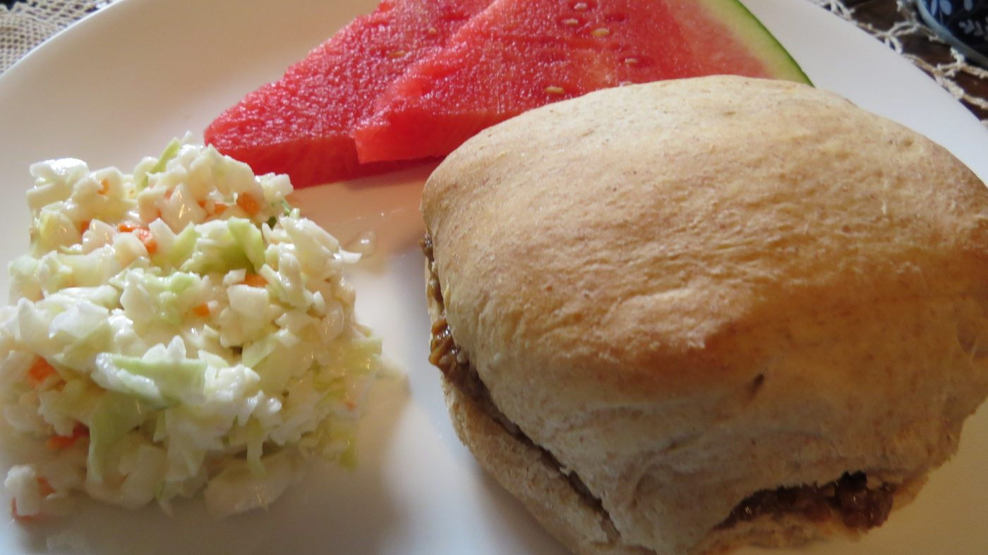 sandwich rolls, cole slaw, watermelon