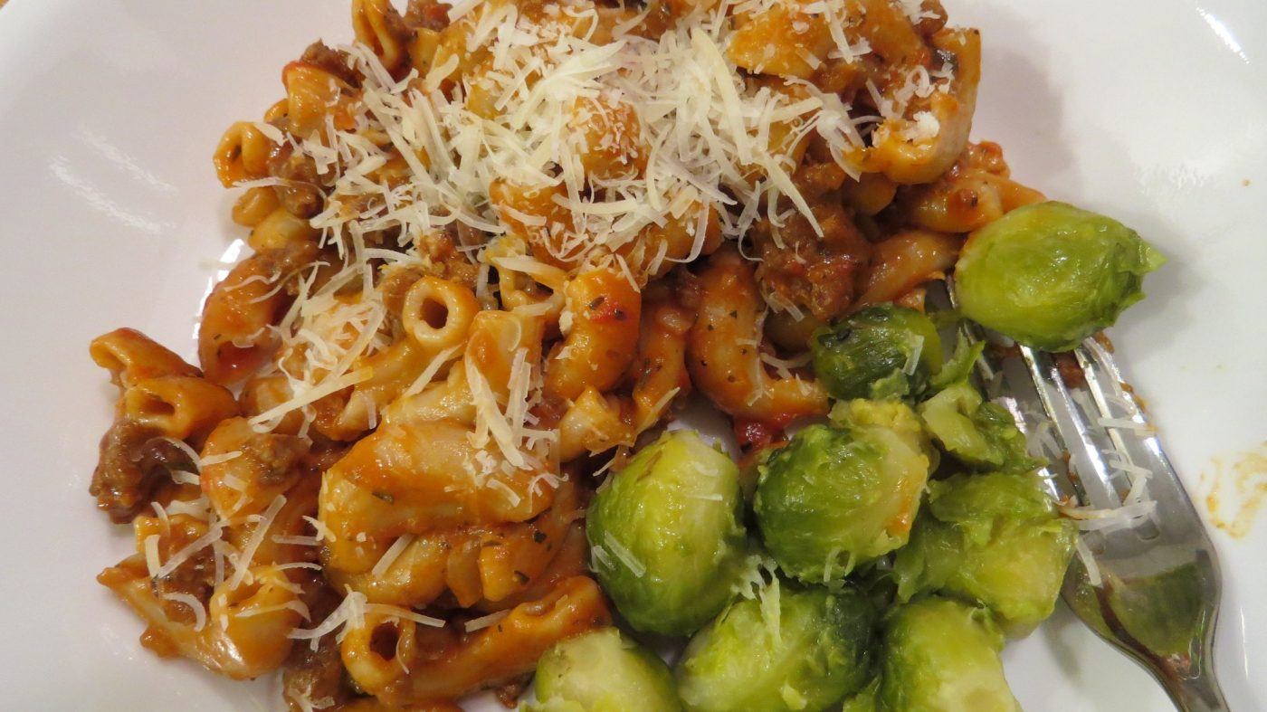beefaroni and steamed Brussels sprouts